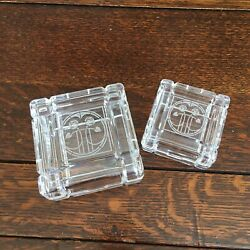 2 Square Lidded Glass Trinket Dishes Pin Trays Art Deco Roses Dressing Table