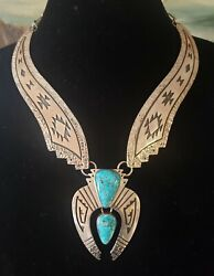 Native American Mary And Everett Teller - High Grade Kingman Turquoise Necklace