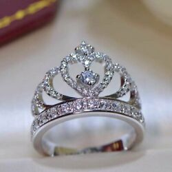 Queen Crown Engagement And Wedding Gorgeous Ring 2.6ct Vvs1 Diamond 14k White Gold