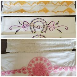 Vintage 4 Pair White Pillowcases With Embroidered And/or Crocheted Edges Read