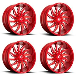 Set 4 22 Fuel D745 Saber 22x10 Candy Red Milled 5x5 For Jeep Wheels -18mm Rims