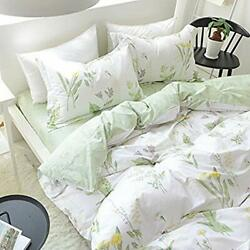 Fadfay Shabby Duvet Cover Sheet Set 7-pieces Daisy And Lavender Floral Printe...