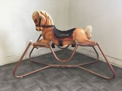 Vintage 1960and039s The Wonder Mare Pony Model 4 Horse Spring Bounce Ride Usa Made