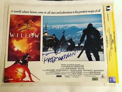 Cgc 9.6 Ss Willow 1988 Lobby Card Signed By Warwick Davis And Val Kilmer 11x14