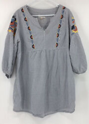 Knox Rose Women's Size Xxl Tunic Top 3/4 Sleeves Boho Embroidered Blouse