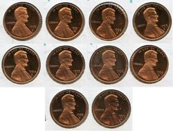 1990-1999 S Lincoln Memorial Cent Penny Proof Coin Set Of 10 San Francisco Jk930