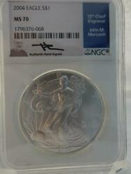 2004 American Silver Eagle Ngc Ms70 Signed J. Mercanti R755
