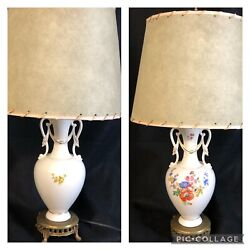 Vintage Ivory Handled Urn Style Table Boudoir Lamp W/parchment Shade Metal Base