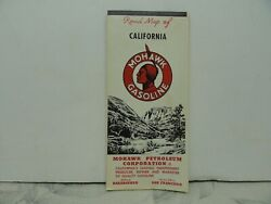 1965 California Mohawk Gasoline Road Map - Oil Can Auto Route Indian Gas