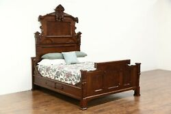 Victorian Renaissance 1880 Antique Carved Walnut And Burl Queen Size Bed American