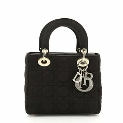 Christian Dior Lady Dior Bag Cannage Quilt Satin With Crystal Charms Mini