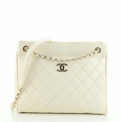 Cc Front Pocket Chain Tote Quilted Caviar Medium