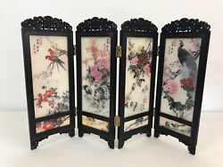 Vintage Dollhouse Miniature Folding Privacy Screen Asian 4 Panel Room Divider