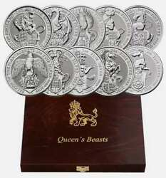 2016-2021 Britain 2 Oz Silver Queen's Beasts 10 Coin Complete Set £5 Bu + Box
