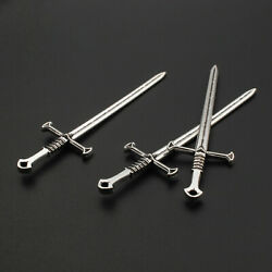 10 Pcs Antique Silver Long Sword Shaped Charm Pendant 2588mm Jewellry Findings