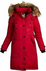 Canada Weather Gear Women's Long Parka Jacket With Hood, Red, Size Medium F2jf