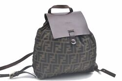 Authentic Fendi Zucca Backpack Nylon Leather Brown C8942