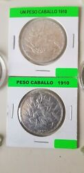 Mexican 1910 4 Silver Caballito Coins F/ Y Collection .very Rare.low Mintage