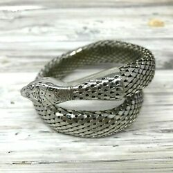 Vintage Whiting And Davis Signed Mesh Silver Tone Serpent Snake Coiled Bracelet