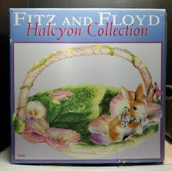 Fitz And Floyd Halcyon Ceramic Bunny Rabbit Large Easter Basket Pansy Retired New