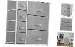 7 Drawers Dresser - Furniture Storage Tower Unit For Bedroom Gray / White
