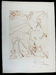 Salvador Dali Etching Land039alchemie In Sepia Signed 1972 Arches