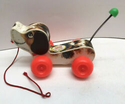 Vintage Fisher Price 2034 Little Snoopy Dog Wood Pull Toy