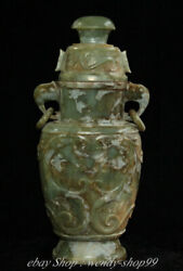 12 Antique China Natural Hetian Jade Hand-carved Palace Wine Bottle Kettle