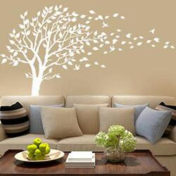 White Tree Wall Decals Leaves Blowing in The Wind Tree Wall Sticker Vinyl Art