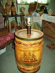 Vintage Wooden Barrel Cask Floor Table Lamp With Merchant Ship Painting