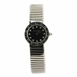 Bvlgari Tubogas Quartz Watch Stainless Steel With Diamond Markers 26