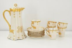 Antique Haviland Limoges France Gold Chocolate Pot Set With 6 Cups And 7 Saucers
