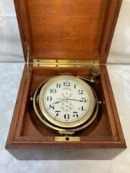 Antique Longines Chronometer In Mahogany Wood Case Runs Made In 1942