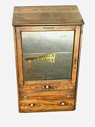 Antique 1914-1915 French Flasher French Battery And Carbon Co. Oak Displ Cabinet