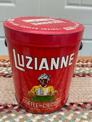 Vintage Luzianne Coffee 3 Pound Can With Red Metal Lid