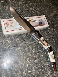"""Powder Horn Frame Pocket Knife Made By Trophy Stag -4"""" Ss Blade Stag Grips"""