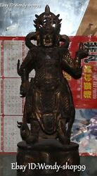 20 Antique Chinese Purple Bronze Myth Stand Heavenly King God Immortal Statue