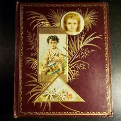 Antique 42 Page Victorian Scrapbook W/ Trade Cards Lace Animal And Floral Diecuts