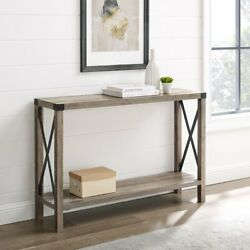 Magnolia Metal X Pattern Rustic Gray Entry Table Wood Console Desk