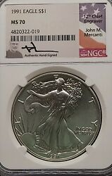 1991 Mercanti Signed Ngc Ms70 American Silver Eagle S1 Dollar Rare Pop 201