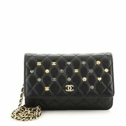 18k Charms Wallet On Chain Quilted Lambskin