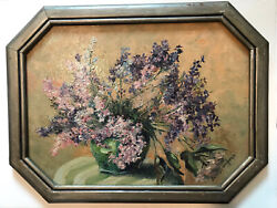 Antique Floral Oil Painting By Edith Gordon Adams Indiana Artist Circa 1900