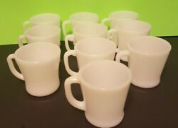 10 Vintage White Milk Glass Fire King D Handle Coffee Mugs Cups Global Shipping