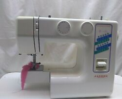 Janome Jd 1818 New Home Sewing Machine One Step Buttonhole Free Arm Case White