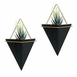 Set of 2 Black Brass Geometric Hanging Wall Planters for Succulent Air Cactus