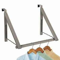 Over The Door Hook-heavy Duty Clothes Hanger- Expandable/foldable Satin Nickel