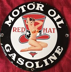 Vintage Style Red Hat Motor Oil And Gasoline Porcelain 12 Inch Gas Pump Plate