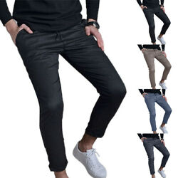 Men Fashion Bodycon Skinny Slim Fit Stretch Solid Casual Pockets Trouser Bottoms