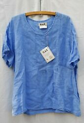 Flax Blue Linen Shirt Blouse Seamed Front Nwt Large