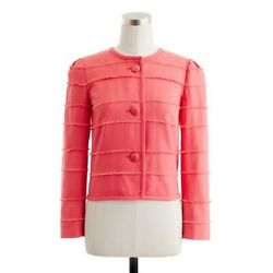 J. Crew Coral Size 4 Cotton Modal Fringed Spring Cropped Jacket